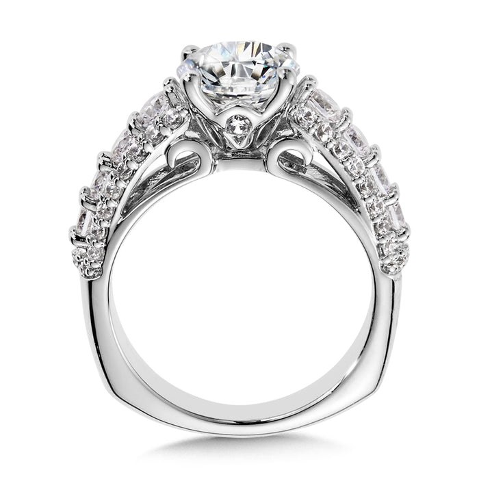 Valina Diamond Engagement Ring Mounting with Side Stones in 14K White (1.12 ct. tw.)