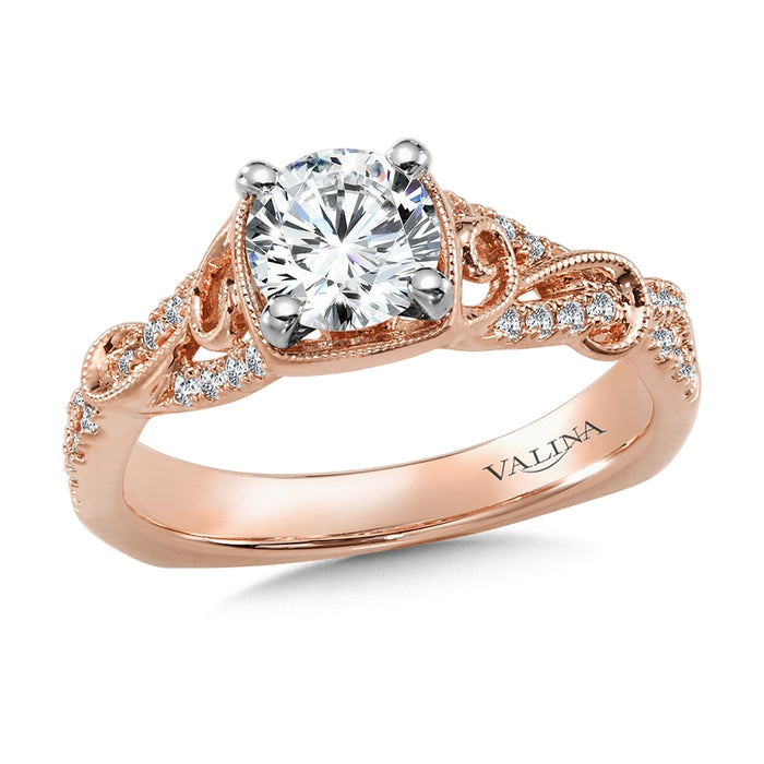 Valina Diamond Engagement Ring Mounting with Side Stones in 14K Rose Gold (.21 ct. tw.)