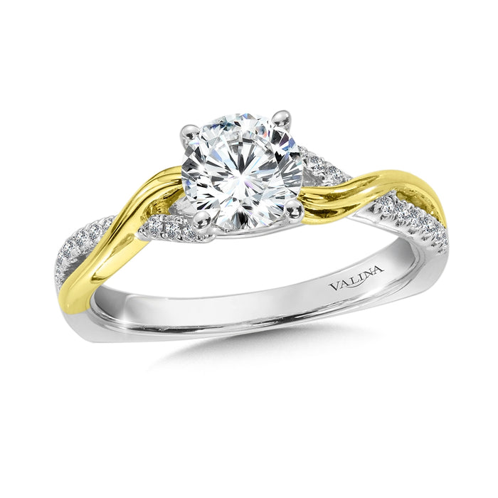 Valina Diamond Engagement Ring Mounting in 14K White/Yellow Gold (.12 ct. tw.)