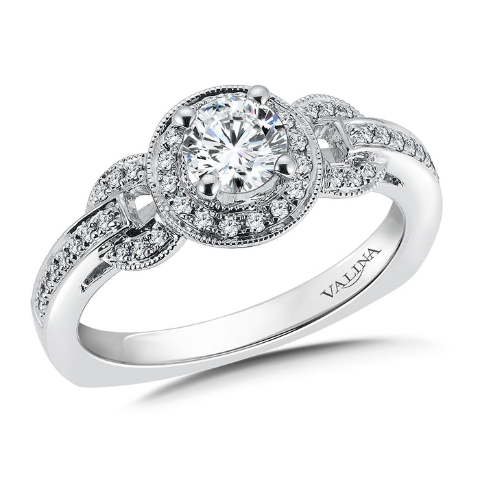 Halo Engagement Ring Mounting in 14K White Gold (.20 ct. tw.) RQ9683W