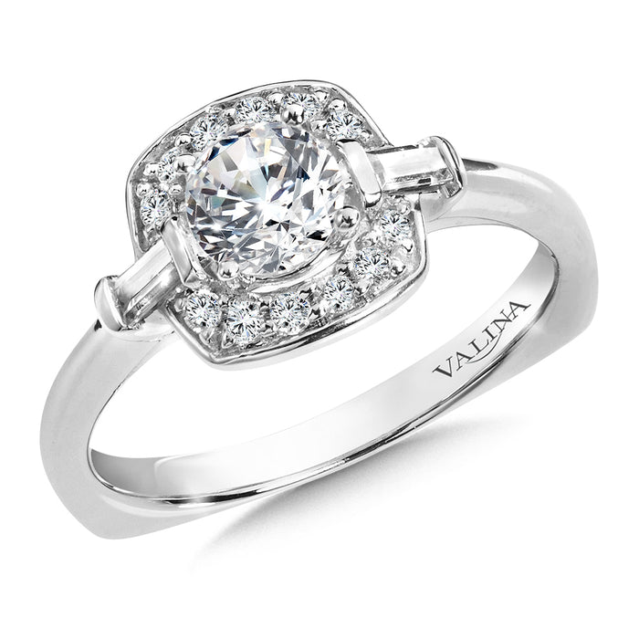 Halo Engagement Ring Mounting in 14K White Gold (.18 ct. tw.) RQ9826W