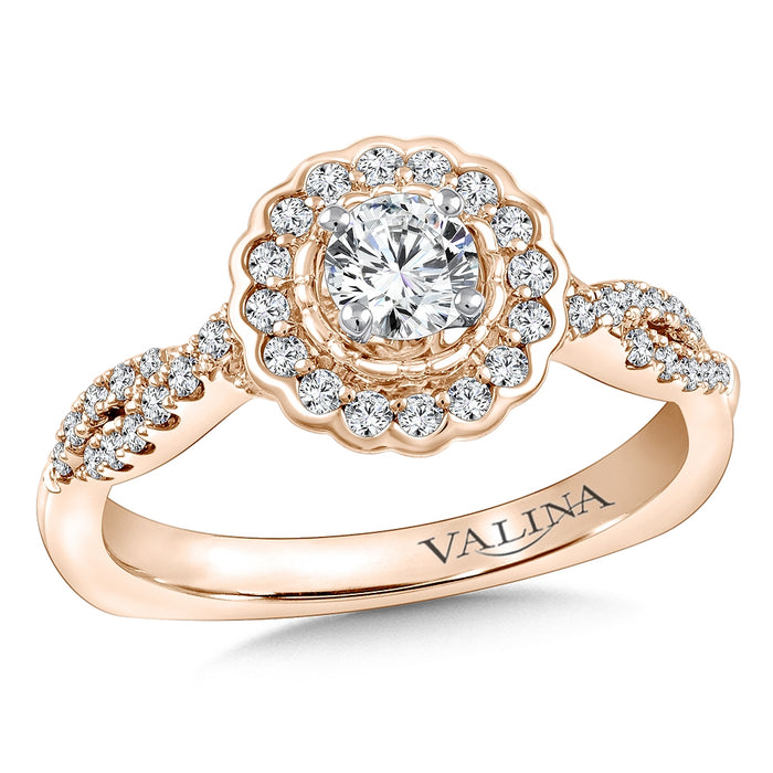 Halo Engagement Ring Mounting in 14K Rose Gold (.35 ct. tw.) RQ9848P