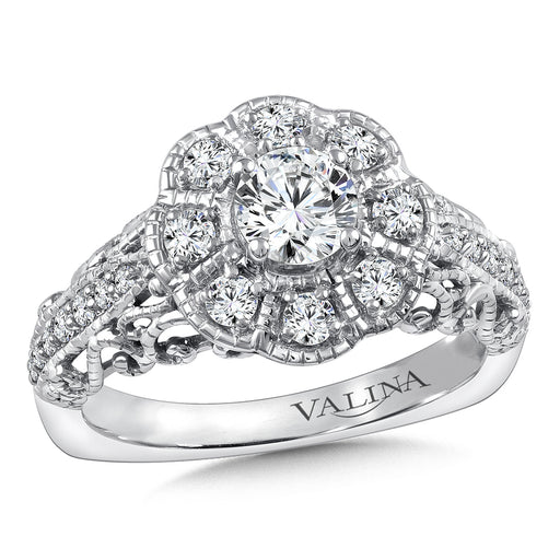 Halo Engagement Ring Mounting in 14K White Gold (.46 ct. tw.) RQ9855W