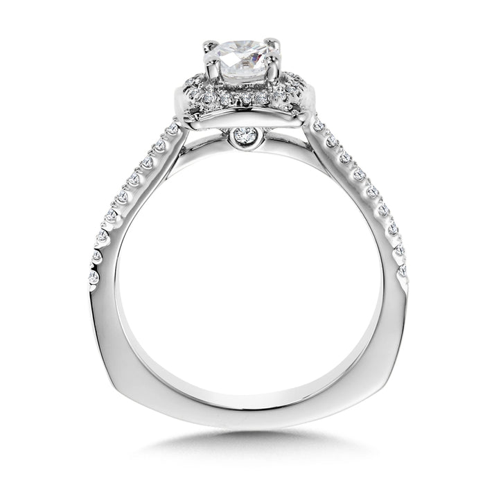 Valina Diamond Halo Engagement Ring Mounting in 14K White Gold (.21 ct. tw.)