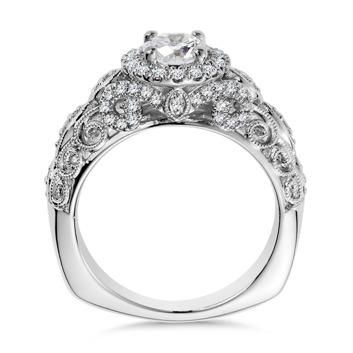 Valina Diamond Halo Engagement Ring Mounting in 14K White/Rose Gold (.37 ct. tw.)