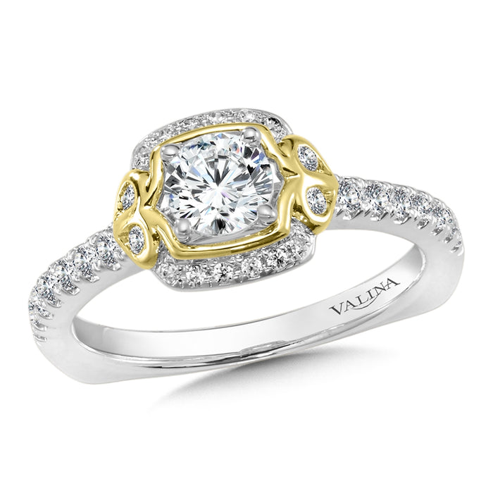 Valina Diamond Halo Engagement Ring Mounting in 14K White/Yellow Gold (.25 ct. tw.)
