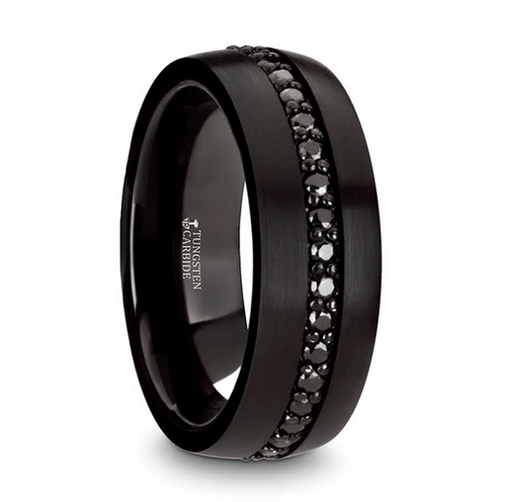 VALIANT Black Tungsten Ring with Black Sapphires - 8mm