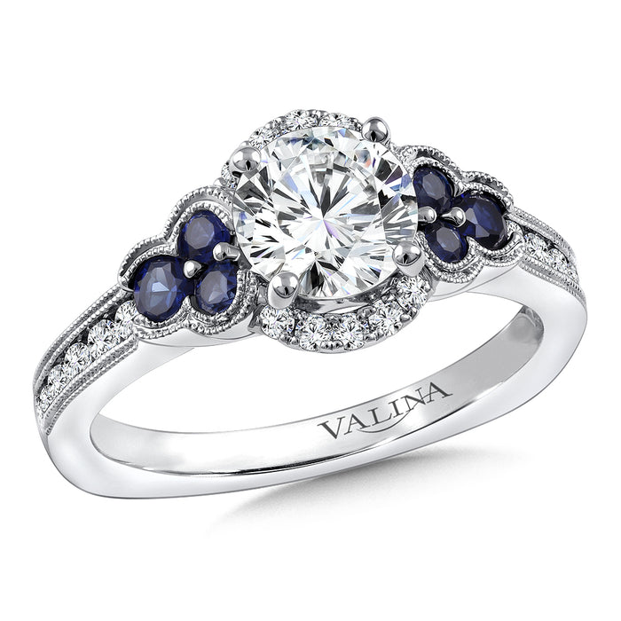 Valina Diamond & Blue Sapphire Engagement Ring Mounting in 14K White Gold (.28 ct. tKw.) R9771W-BSA