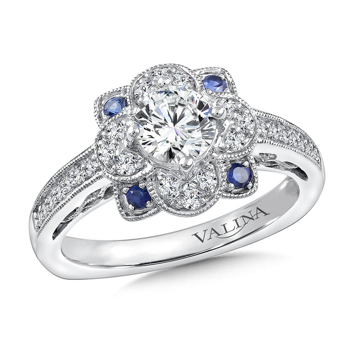 Valina Diamond & Blue Sapphire Halo Engagement Ring Mounting in 14K White Gold (1/4 ct. tw.) R9765W-BSA