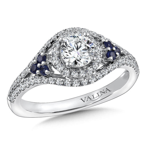 Valina Diamond and Blue Sapphire Engagement ring mounting in 14K White/Rose Gold (.43 ct. tw.) RQ9801WP-BSA