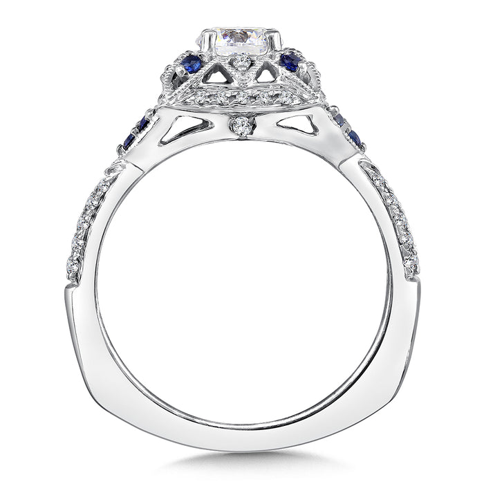 Valina Diamond and Blue Sapphire Engagement Ring Mounting in 14K White Gold (.20 ct. tw.) RQ9601W-BSA