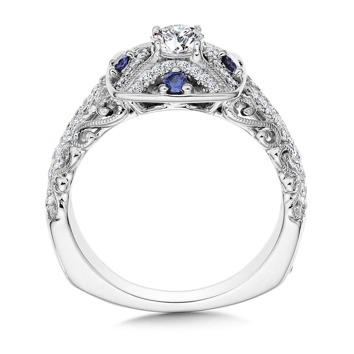 Valina Diamond and Blue Sapphire Halo Engagement Ring Mounting in 14K White/Rose Gold (.30 ct. tw.)
