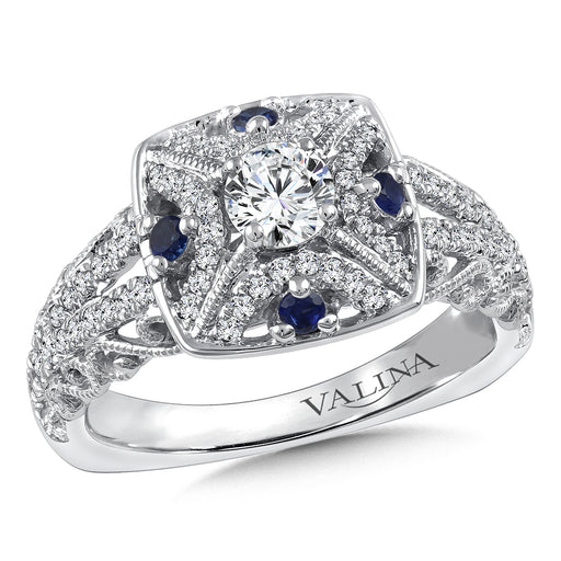 Valina Diamond and Blue Sapphire Halo Engagement Ring Mounting in 14K White/Rose Gold (.30 ct. tw.) RQ9862WP-BSA