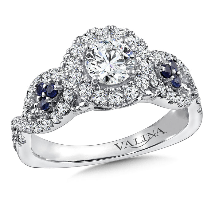 Valina Diamond and Blue Sapphire Engagement ring mounting in 14K White Gold (.45 ct. tw.) RQ9799W-BSA