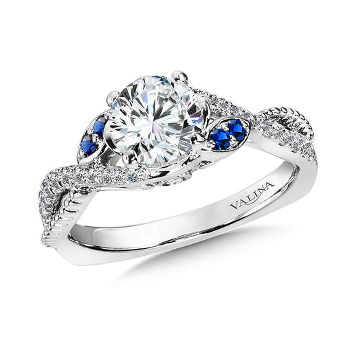 Valina Diamond and Blue Sapphire Engagement Ring Mounting in 14K White/Rose Gold (.25 ct. tw.) R9877WP-BSA