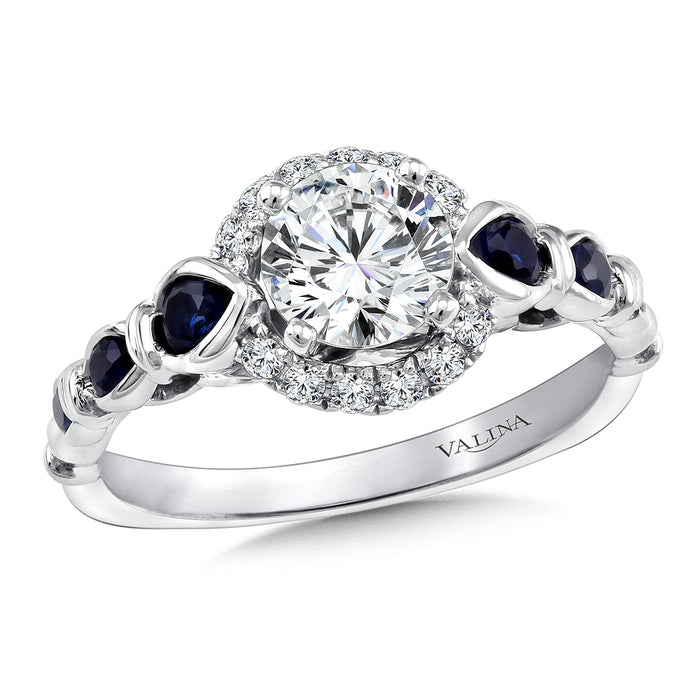 Valina Diamond and Blue Sapphire Halo Engagement Ring Mounting in 14K White Gold (.12 ct. tw.) R9376W-BSA