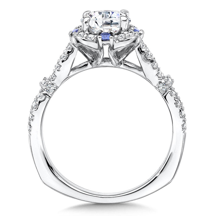 Valina Diamond and Blue Sapphire Halo Engagement Ring Mounting in 14K White Gold (.40 ct. tw.) R9653W-BSA