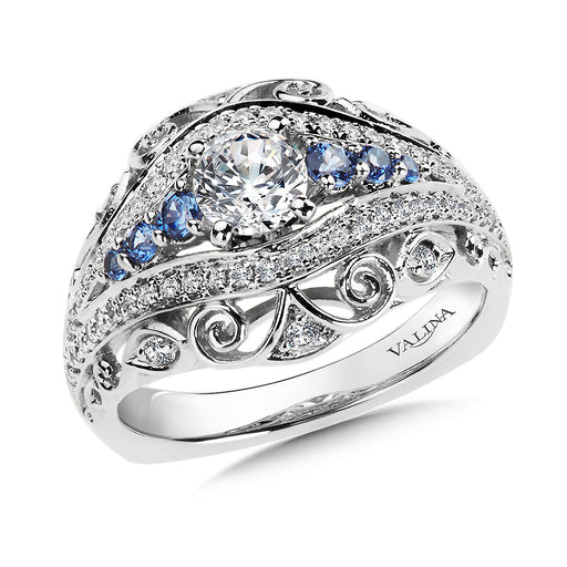 Valina Diamond and Blue Sapphire Engagement Ring Mounting in 14K White/Rose Gold (.36 ct. tw.) RQ9881WP-BSA