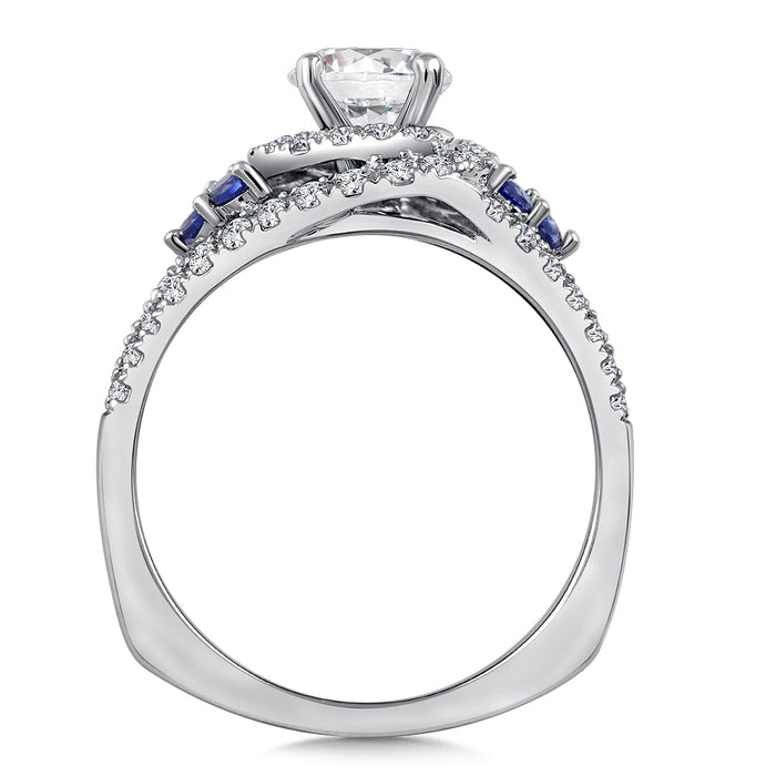 Valina Diamond & Blue Sapphire Engagement Ring Mounting in 14K White Gold (.43 ct. tw.) R9780W-BSA