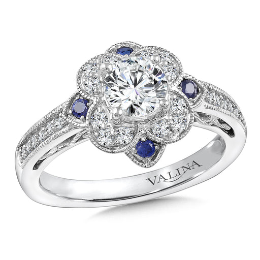 Valina Diamond & Blue Sapphire Halo Engagement Ring Mounting in 14K White Gold (.24 ct. tw.) R9759WP-BSA
