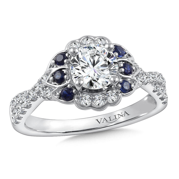 Valina Diamond & Blue Sapphire Engagement Ring Mounting in 14K White Gold (.32 ct. tw.) R9777W-BSA