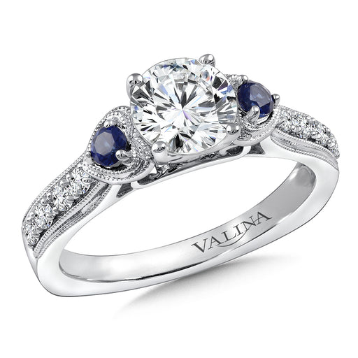 Valina Diamond & Blue Sapphire Engagement Ring Mounting in 14K White/Rose Gold (.20 ct. tw.) R9781W-BSA