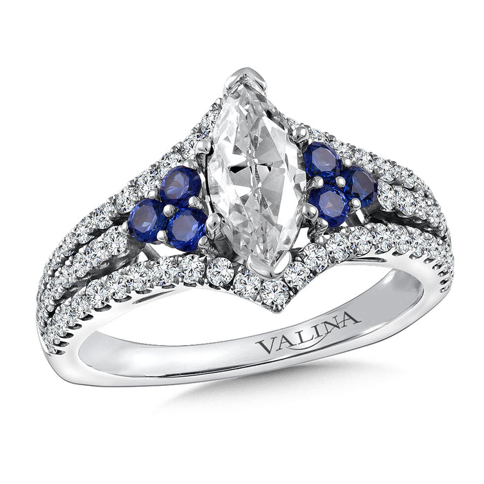 Valina Diamond & Blue Sapphire Engagement Ring Mounting in 14K White/Rose Gold (.53 ct. tw.) R9815WP-BSA
