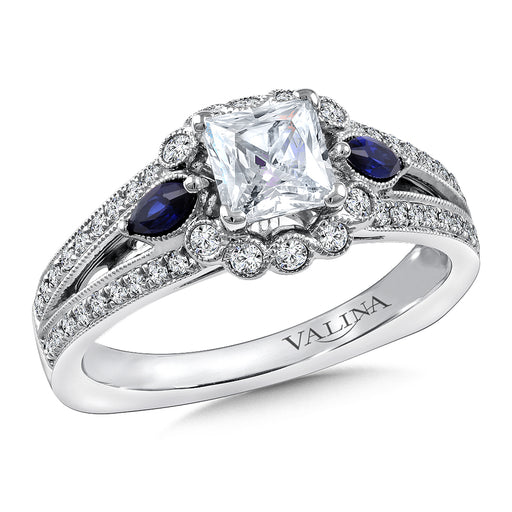 Valina Diamond & Blue Sapphire Engagement Ring Mounting in 14K White/Rose Gold (1/4 ct. tw.) R9802WP-BSA