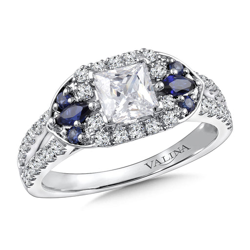 Valina Diamond & Blue Sapphire Engagement Ring Mounting in 14K White/Rose Gold (.38 ct. tw.) R9798WP-BSA