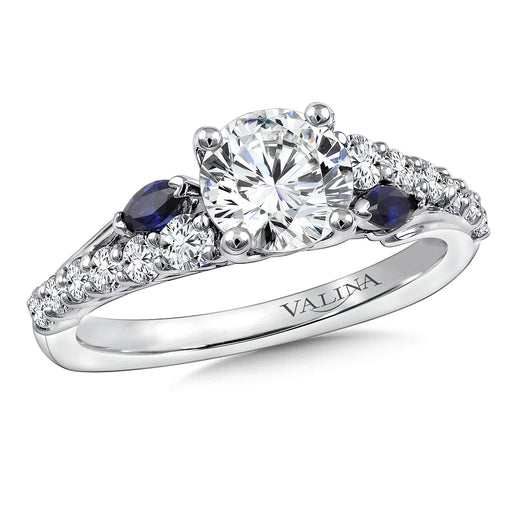 Valina Diamond & Blue Sapphire Engagement Ring Mounting in 14K White Gold (.53 ct. tw.) R9772W