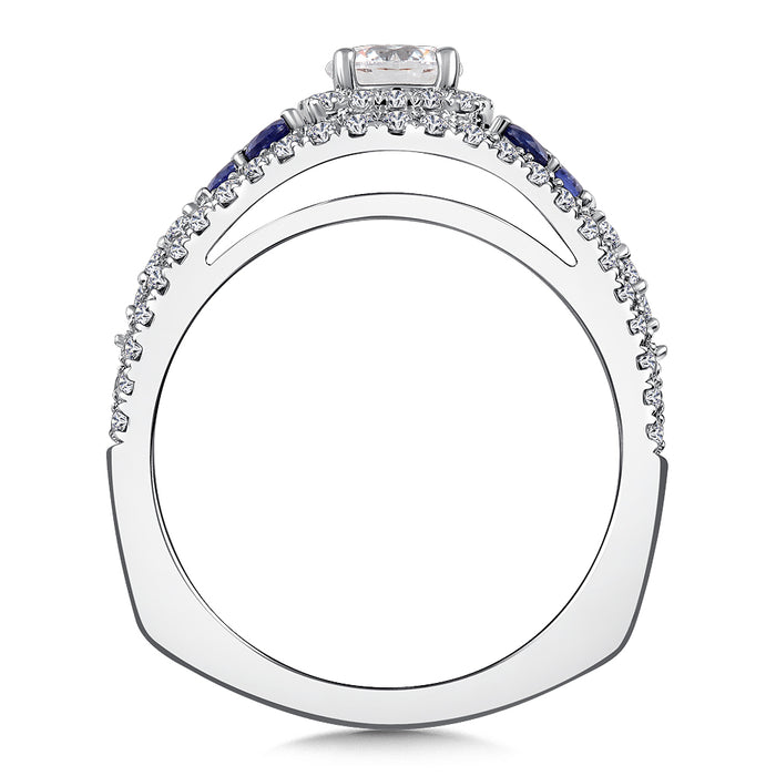 Valina Diamond & Blue Sapphire Engagement Ring Mounting in 14k White/Rose Gold (.40 ct. tw.) RQ9776WP-BSA