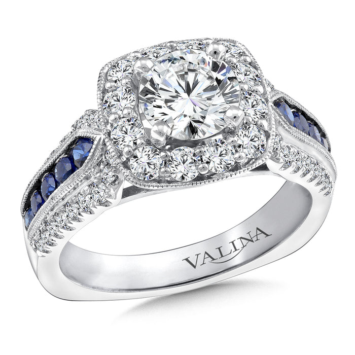 Valina Diamond and Blue Sapphire Halo Engagement Ring Mounting in 14K White Gold (.75 ct. tw.) R9520W-BSA