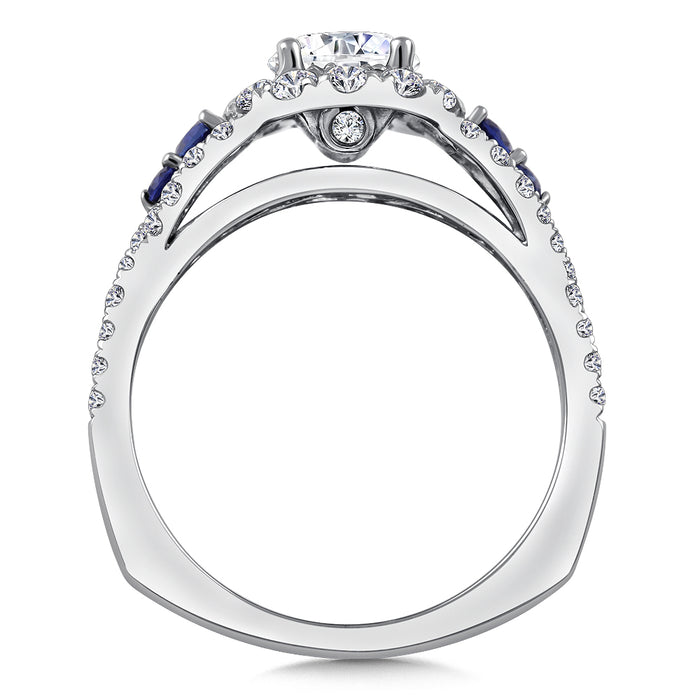 Valina Diamond & Blue Sapphire Halo Engagement Ring Mounting in 14K White/Rose Gold (.60ct. tw.) R9774WP-BSA