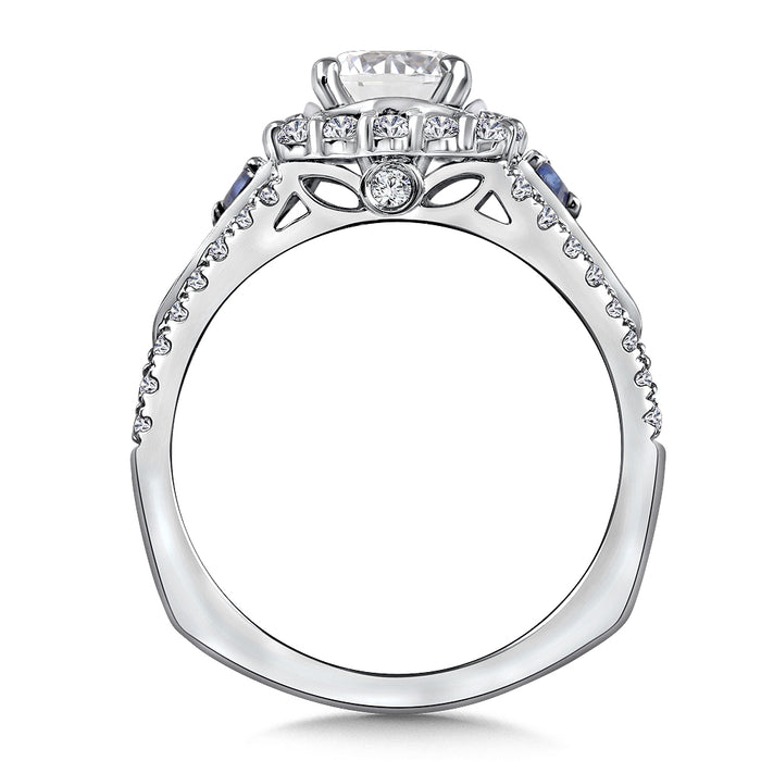 Valina Diamond and Blue Sapphire Halo Engagement Ring Mounting in 14K White Gold (.58 ct. tw.) R9845W-BSA