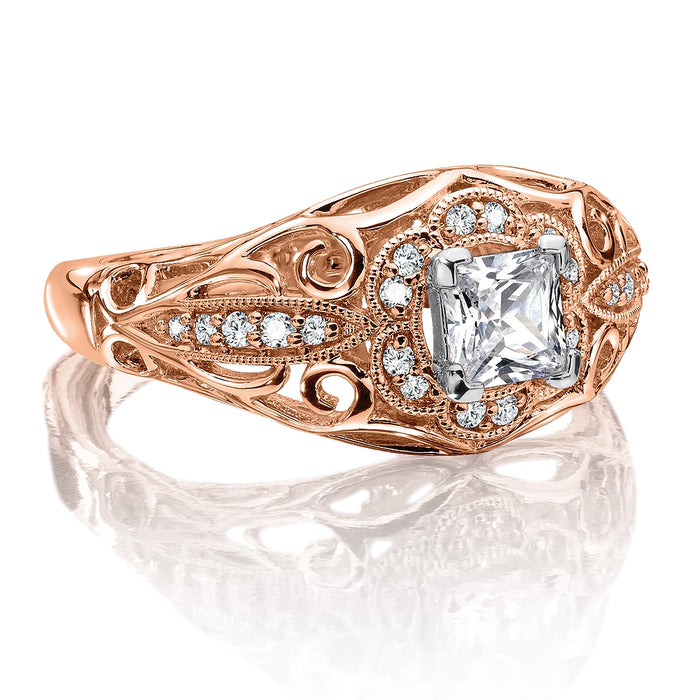 Valina Diamond Engagement Ring Mounting in 14K Rose Gold (.14 ct. tw.) RQ9724P