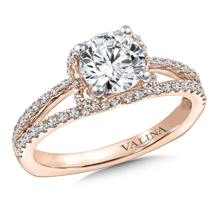 Valina Diamond Engagement Ring Mounting in 14K Rose Gold (.35 ct. tw.) R9767P