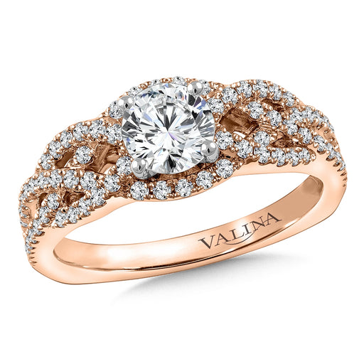 Valina Diamond Engagement Ring Mounting in 14K Rose Gold (.46 ct. tw.) RQ9787P