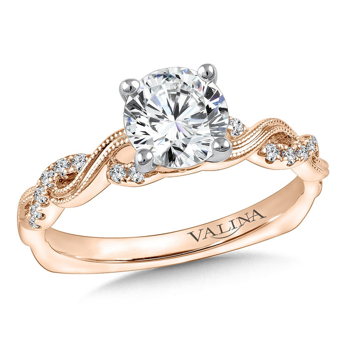 Valina Diamond Engagement Ring Mounting in 14K Rose Gold (.13 ct. tw.)
