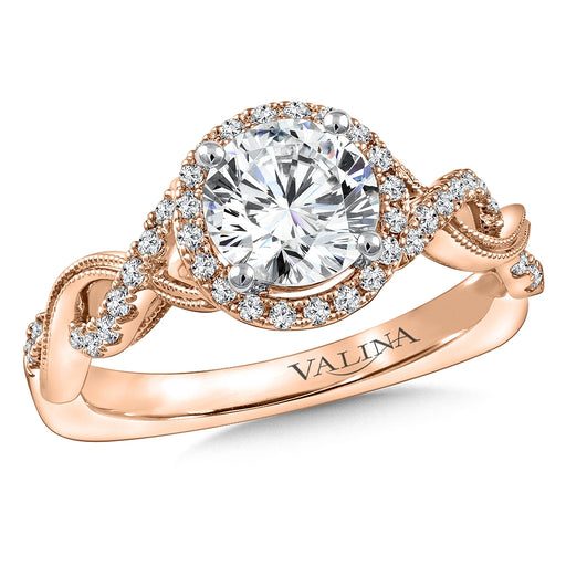 Valina Diamond Engagement Ring Mounting in 14K Rose Gold (1/4 ct. tw.)