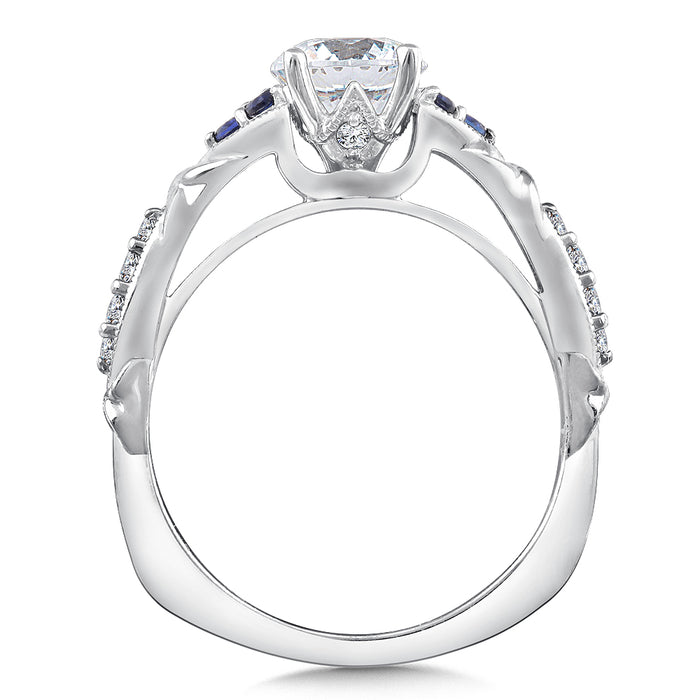 Valina Diamond and Blue Sapphire Engagement Ring Mounting in 14K White Gold (.12 ct. tw.) R9379W-BSA