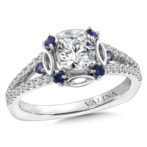 Valina Diamond and Blue Sapphire Halo Engagement Ring Mounting in 14K White Gold (.25 ct. tw.) RQ9844W-BSA
