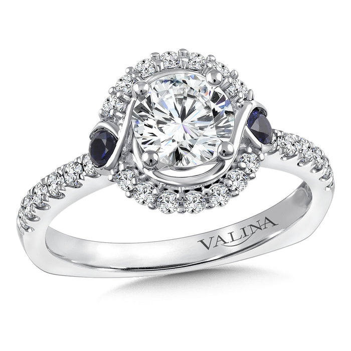 Valina Diamond and Blue Sapphire Halo Engagement Ring Mounting in 14K White Gold (.32 ct. tw.) R9846W-BSA