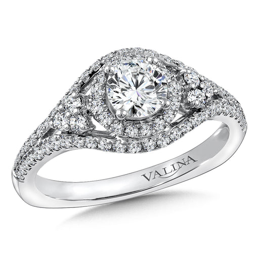Valina Diamond and Blue Sapphire Engagement ring mounting in 14K White/Rose Gold (.43 ct. tw.) RQ9801WP