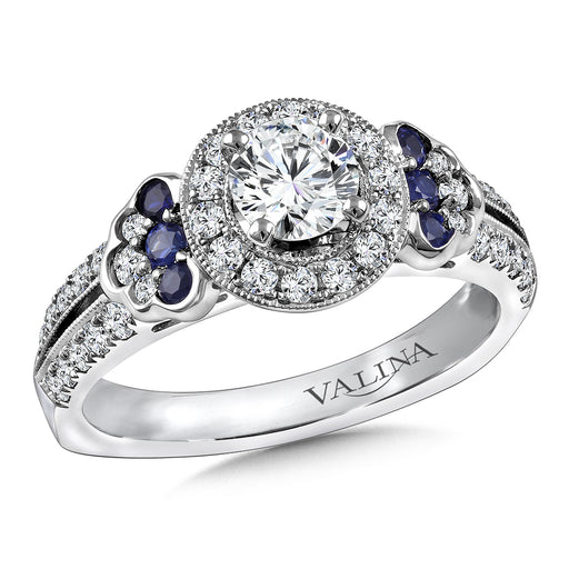 Valina Diamond and Blue Sapphire Engagement ring mounting in 14K White/Rose Gold (.42 ct. tw.) RQ9816WP-BSA