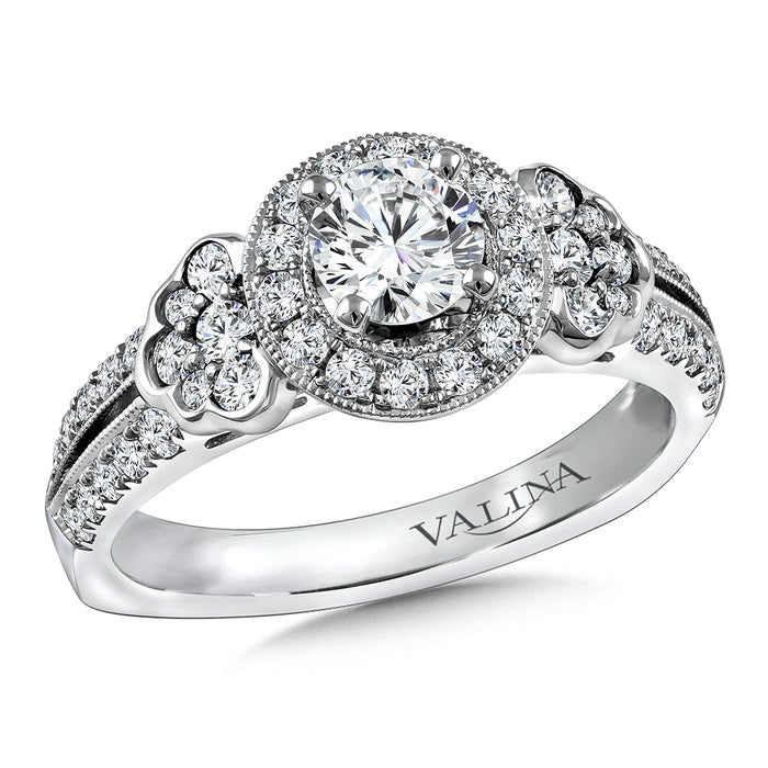 Valina Diamond and Blue Sapphire Engagement ring mounting in 14K White/Rose Gold (.42 ct. tw.) RQ9816WP