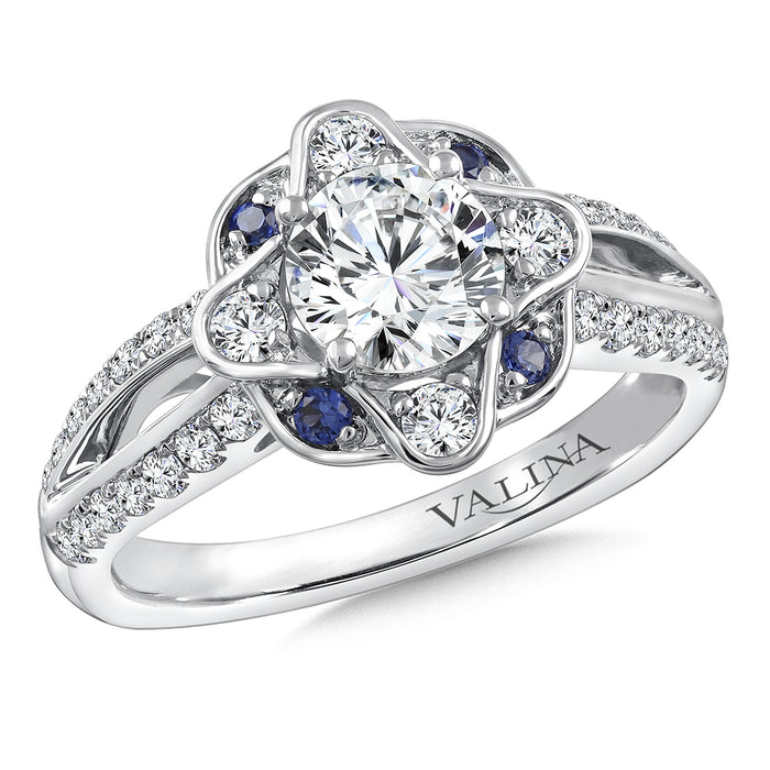 Valina Diamond & Blue Sapphire Engagement Ring Mounting in 14K White/Rose Gold (.42 ct. tw.) R9768WP-BSA