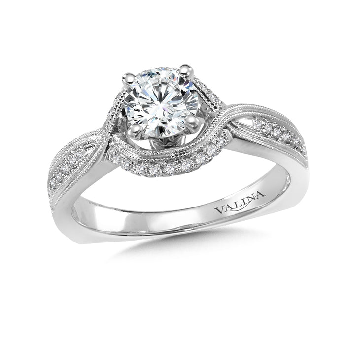 Valina Diamond Engagement Ring Mounting in 14K White Gold (.14 ct. tw.)