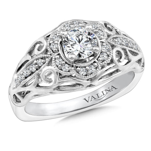 Valnia Diamond Engagement Ring Mounting in 14K White Gold (.14 ct. tw.)