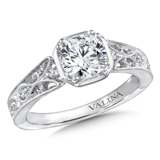 Valina Diamond Engagement Ring Mounting in 14K White Gold (.08 ct. tw.) R9764W