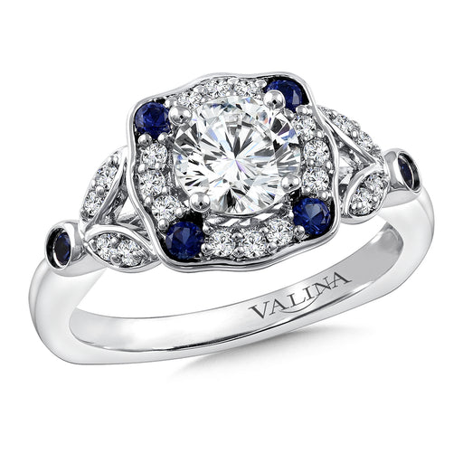 Valina Diamond & Blue Sapphire Engagement Ring Mounting in 14K White Gold (.20 ct. tw.) R9778W-BSA